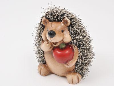 Ježek keramičen z jabolko