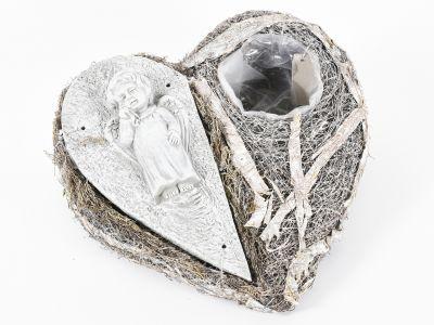 Posoda srce s ploščico/mahom h15cm